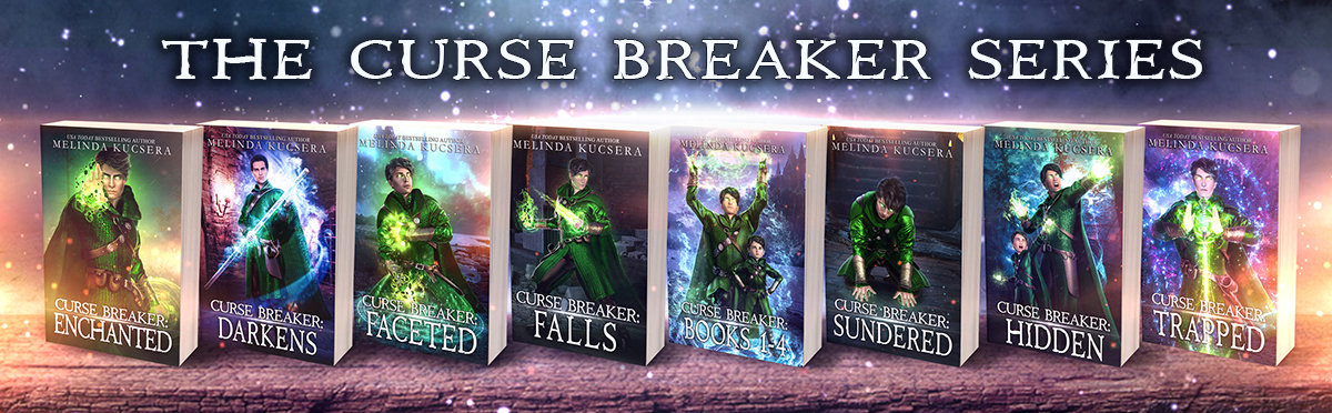 The Curse Breaker Series books in order: Curse Breaker Enchanted, Curse Breaker Darkens, Curse Breaker Faceted, Curse Breaker Falls, Curse Breaker: Books 1-4, Curse Breaker Sundered, and Curse Breaker Hidden, Curse Breaker Trapped. Eight books to rule them all until the ninth one comes out.
